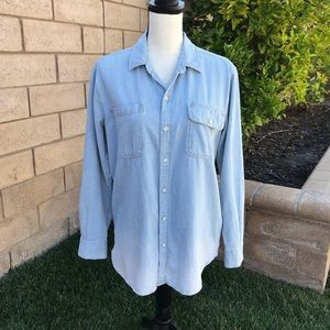 Lucky Brand Blue/White Striped Button Front Size S